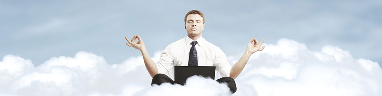 office worker meditating on a cloud
